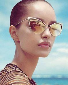 d3d40ad5ca Details about Designer Nastasya Style Cat Eye Silver Metal Frame Women Celebrity  Sunglasses