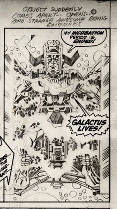 Jack Kirby pencil lines object suddenly comes apart opens and strange awesome being emerges >< galactus