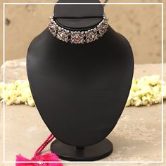 MADE TO ORDER. 15-20 DAYS PROCESSING TIME. Chaiti -The oxidize finish Gulband from our Devyani collection comes studded with magenta and white colored stones.Color code it to bring out your beauty. Metal - 92.5% Silver , Care - Keep away from fragrances, water, moisture & store in a dry fabric bag. We have multiple