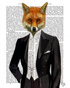Foxy Collection Set Four Dictionary Art Prints Wall por FabFunky