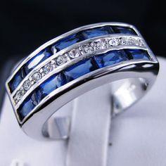 Size 10 Men S Gf Created Blue Shire Ring And Diamonds Nice Wedding