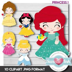 Princess Clipart Digital beauty snowwhite por SweetieInk en Etsy