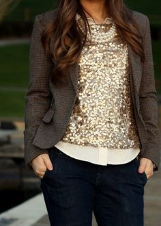 sparkly shirt on top...with downplayed blazer and pearls. Lovely.