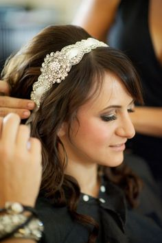 Bridal Crystal Headband- Vintage l& bridal head piece Wedding Headband, Bridal Hair, Wedding Hair And Makeup, Wedding Hair Accessories, Hair Wedding, Wedding Cake, Wedding Dresses, Wedding Ideias, Vintage Headbands