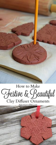 Use Air-Dry Clay, Christmas cookie cutters, and acrylic stamps to make the simplest of crafts, Clay Diffuser Ornaments. They're beautifully festive decorations for the Christmas season, and they add a touch of essential oil scents to both your tree and ho