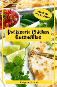 Rotisserie Chicken Quesadillas with Fresh Pico de Gallo uses store-bought shortcuts to get dinner on the table in under 35 minutes, from start to finish. A DIY taco seasoning is added to the chicken and also used in the sour cream dipping sauce. Check out the shortcuts that are at your disposal in the post. Easy Appetizer Recipes, Easy Dinner Recipes, Great Recipes, Party Recipes, Delicious Recipes, Turkey Recipes, Mexican Food Recipes, Chicken Recipes, Baked Chicken