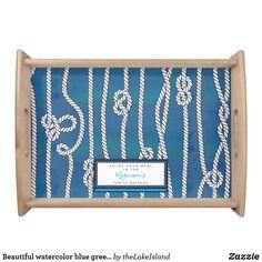 Beautiful watercolor blue green white knots custom serving tray