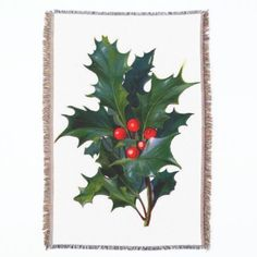 Vintage Holly Leaf and Berry Afghan Throw