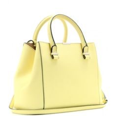Victoria Beckham Quincy Leather Tote ($1,575) ❤ liked on Polyvore featuring bags, handbags, tote bags, purses, bolsas, yellow, leather handbags, leather tote handbags, yellow tote and purse tote