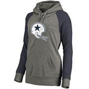 #NFLShop.com - #NFLShop.com Women's Dallas Cowboys NFL Pro Line by Fanatics Branded Gray/Navy Throwback Logo Tri-Blend Raglan Plus Size Pullover Hoodie - AdoreWe.com
