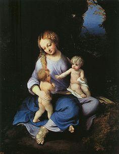 Madonna (col Bambino e san Giovannino) con un solo sandalo e l'altro piede nudo. -Correggio- Prado, Madrid