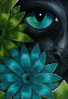 Art: BLACK CAT BEHIND THE AQUA & GREEN GERBER FLOWERS by Artist Cyra R. Cancel