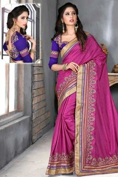 Red Violet embroidered party saree intricate with resham thread, zari thread, sequins work, floral work, leaf work and patch patti border work.