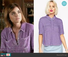 Aria's purple sequin collared top on Pretty Little Liars. Outfit Details: https://wornontv.net/55807/ #PLL