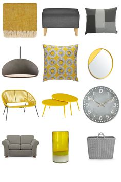 Yellow & Grey Décor Inspiration Board. Ochre, mustard or lemon - be inspired by yellow and grey today! Grey and yellow work really well together, balancing a bright colour with a classic neutral tone. Get ideas to create your dream living space at www.furnishful.co.uk - for living room and bedroom inspiration, accessories and more! Then create your own Inspiration Board from 1000s of shoppable furniture and home décor items.