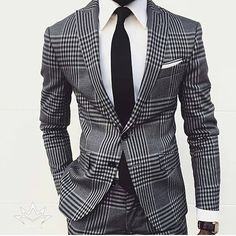 Buy it before it ends. There is always many products on sae upto - Two Buttons Tweed Men Slim Fit Suits Grey Notch Lapel Groomsmen Tuxedos Men Wedding Suits formal costumes men (jacket+pant) - eTrendings Terno Slim Fit, Slim Fit Suits, Nice Suits, Tailored Suits, Mens Fashion Suits, Mens Suits, Mens Plaid Suit, Mens Check Suits, Grey Check Suit