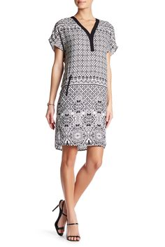Short Sleeve V-Neck Printed Dress by Danillo Boutique on @HauteLook