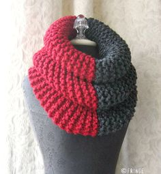 Items similar to El Grande Cowl - Chunky Knit Cowl - Oversized - Cherry Red and Charcoal Grey on Etsy Knit Or Crochet, Crochet Scarves, Made A Mano, Knit Cowl, Crochet Accessories, Diys, Cherry Red, Knitting, My Style