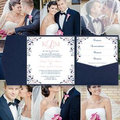 "Pocket Fold Wedding Invitations ""Kaitlyn"" Blush Pink & Navy Blue Printable Templates Instant Download Order Any 1 or 2 Colors DIY You Print"