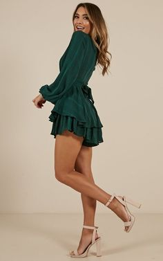 On Rotation Playsuit In Green Hoco Dresses, Sexy Dresses, Cute Dresses, Beautiful Dresses, Casual Dresses, Dresses For Work, Elegant Dresses, Chiffon Dresses, Formal Dresses