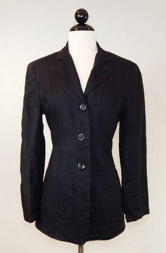 WALTER Black 100% Linen Lined Button Front 3 Pocket Jacket Blazer  Size 4 #Walter #BasicJacket #Business
