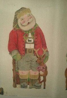 Melissa-Shirley-Handpainted-Needlepoint-Canvas-Santa-and-Deer
