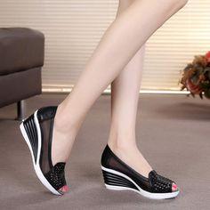 70cab860 Tienda Online Boca de pescado Sandalias con tacón de cuña 2018 verano  nuevos zapatos de mujer