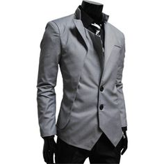 Mens unbalance 2 button china collar jacket GRAY