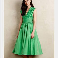 Anthropologie Parted Emerald Dress Tracy Reese 8 M Brand new with tags.  Size 8. DETAILS Long charmed by the exotic allure of India and all points east, Parsons graduate and Detroit native Tracy Reese skillfully melds the details textures and colors of faraway lands into wearable works for art. Her pieces have a celebratory, almost festive feel-no surprise, then, that one feels simply joyful while wearing them.  By Tracy Reese Polyester taffeta; acetate lining Fit-and-flare silhouette Back…