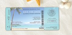 Boarding Pass Save The Date Destination by FossilLetterpress