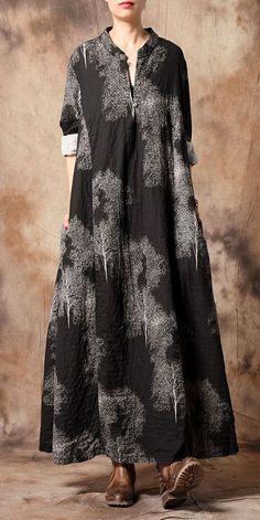 Women Vintage Loose Print Maxi Cotton Linen Dresses Source by fantasylinen Formal Dresses With Sleeves, Linen Dresses, Casual Dresses, Fashion Dresses, Cotton Dresses Online, Tunic Designs, Dress Making Patterns, Bohemian Mode, Vestidos Vintage