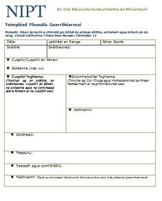 Teimpléad don Phleanáil Ghearrthéarmach (Leagan Word) Templates, How To Plan, Words, Role Models, Stenciling, Template, Stencils, Models, Western Food