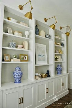 Built ins with lights. Sita Montgomery Interiors: My Home Office Makeover Reveal Home Office Design, House Design, Office Decor, Office Furniture, Office Ideas, Wood Furniture, Office Nook, Furniture Storage, Bedroom Office