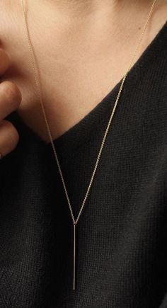 The Vertical Bar Necklace, perfect for those in between spots.