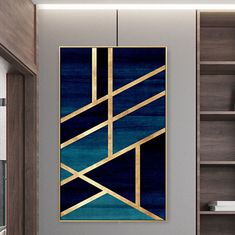 Framed Wall Art Modern Geometric Gold Navy Blue Simple Nordic Abstract Design Gold Art on Canvas Large Wall Art Cuadros Abstractos – طرح – Hausmit Modern Wall Art, Large Wall Art, Framed Wall Art, Wall Art Decor, Large Abstract Wall Art, Modern Canvas Art, Simple Wall Art, Modern Frames, Decor Room
