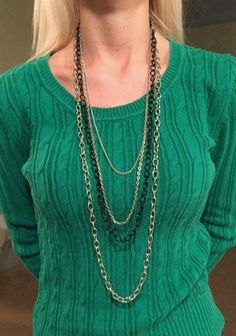 """Long 40"""" #Necklace Multi Strand Chain silver tone and Black 4 chains #jewelry…"""