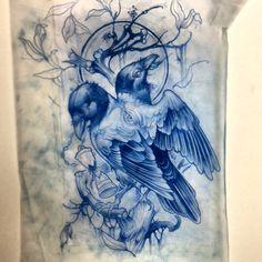 thievinggenius: Done by Dan Fletcher. Tattoo Sketches, Tattoo Drawings, Body Art Tattoos, Art Sketches, Art Drawings, Raven Tattoo, 1 Tattoo, Dark Tattoo, Tattoo Studio