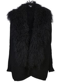 VINCE Fur Trim Cardigan