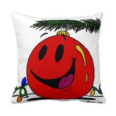 Happy Ornament Pillow - Red Festive & comfy!