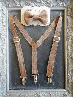 Burlap style, perfect for weddings. Boys Suspenders Bow Tie set Brown by bearandfoxdesigns on Etsy, $28.00