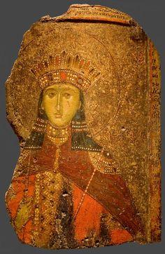 St Catherine of Alexandria as a Byzantine princess. Religious Images, Religious Icons, Religious Art, Byzantine Icons, Byzantine Art, St Catherine Of Alexandria, Saint Katherine, Medieval Paintings, Russian Icons