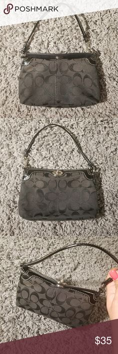 "Authentic Coach Wristlet classic black Authentic Coach Wristlet classic black, excellent used condition like new, measures 8""x5"". Super clean in the inside little signs on the hardware from normal normal use almost not noticeable. Coach Bags Clutches & Wristlets"