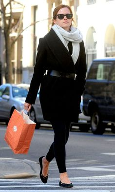 Emma Watson in black coat out in New York. Adore her outfit