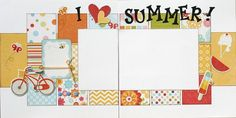 Premade Scrapbook Double Page 12 x 12  Layout - I Love Summer