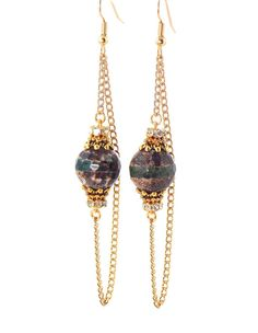 Honeycomb Brown Agate, Gold Crystal, Long Dangle Chain Earrings (Clip On Optional) by KMagnifiqueDesigns on Etsy.com