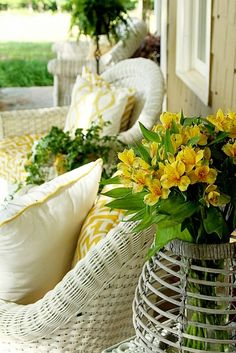 Using Yellow on your Summer Porch - Duke Manor Farm - - summer front porch. Yellow Cottage, Cozy Cottage, Cottage Style, Garden Cottage, Cottage Porch, Summer Front Porches, Summer Porch, Decks, Manor Farm