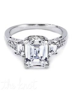 Emerald Cut Engagement Rings With Wedding Band 6 Tacori Rings, Tacori Engagement Rings, Emerald Cut Engagement, Modern Engagement Rings, Platinum Engagement Rings, Engagement Ring Settings, Diamond Wedding Rings, Diamond Rings, Tacori Wedding Rings