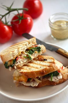 Thanksgiving leftover Cheesy Roast Turkey and Vegetable Panini - packed with veggies and lean turkey for a filling lunch! Perfect paired with Creamless Tomato Soup, too! Best Sandwich, Soup And Sandwich, Sandwich Recipes, Grilled Sandwich, Panini Sandwiches, Turkey Sandwiches, Turkey Panini, I Love Food, Good Food