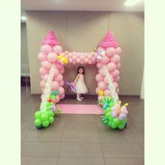 Balloon castle. Tulle drawbridge