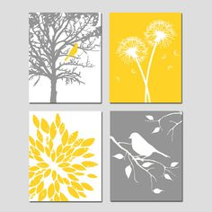 Yellow Gray Art Quad - Set of Four 11x14 Nursery Prints - Bird in a Tree, Bird on a Branch, Dandelions, Abstract Floral - Choose Your Colors...